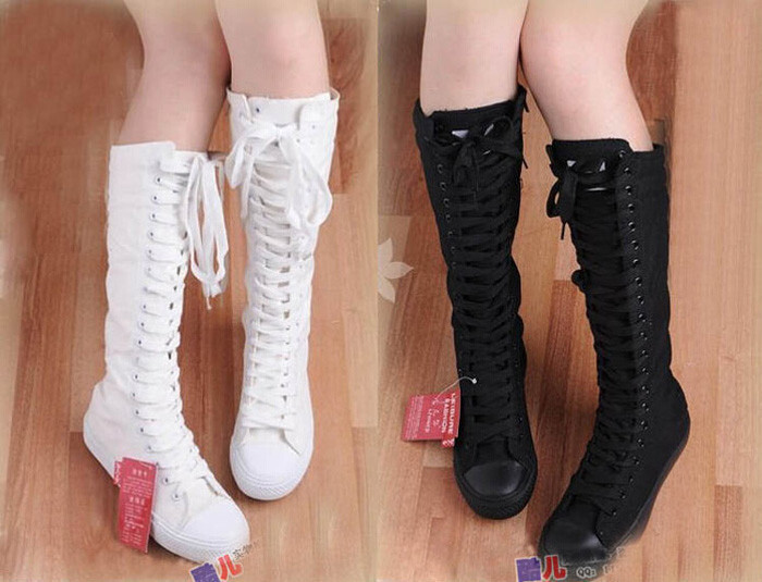 Hot sale! Women Boots Canvas Lace Up Knee High Boots Women motorcycle boots Sneakers Flat Casual Tall Punk Shoes woman US4-10<br><br>Aliexpress