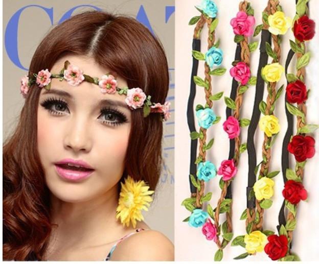 3Pcs/lot Fashion Women Bride Flower Headband Bohemian Style Rose Flower Crown Hairband Ladies Elastic Beach Hair Accessories(China (Mainland))