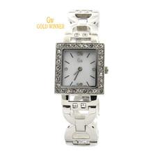 GOLD WINNER Brand Fashion Casual Diamond Watches Women Girls Square Shell Face Waterproof Quartz Watches Wristwatches