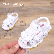 Hollow 2016 spring new baby girl shoes outdoor genuine leather sandals Flat toddler shoes Korean version of the British style(China (Mainland))