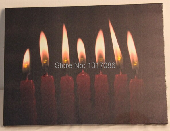 Free Shipping light up led canvas painting candles(China (Mainland))