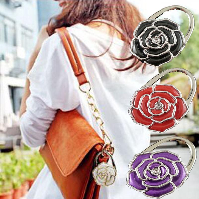 Practical Flower Folding Purse Handbag Bag Accessories Table Hook Hanger Holder(China (Mainland))