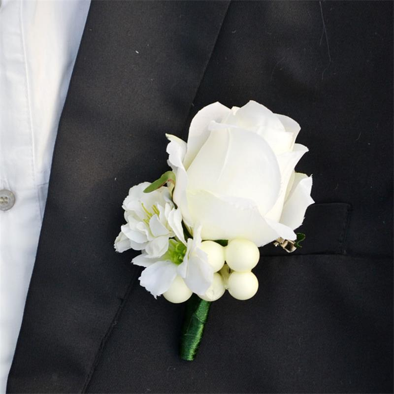 4 pcs lot wedding flowers grooms boutonniere best man. Black Bedroom Furniture Sets. Home Design Ideas