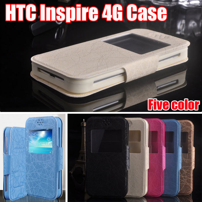New item Fasion PU Leather Flip for HTC Inspire 4G case High Quality Luxury Case view window Cover in stock freeshipping F4(China (Mainland))