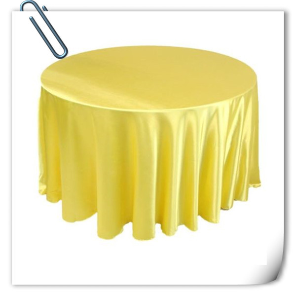 Hot Sale !!! Yellow 90inch 10pcs Satin table cloth for weddings parties hotels restaurant Free Shipping(China (Mainland))