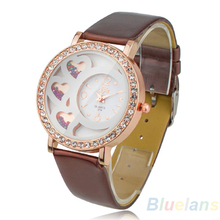 Fashion Women s Round Dial Analog Dress Watch with Crystals Beads Decoration Rhinestone Rose Color 0TNO