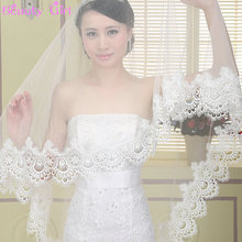 New Hot Sale Highest Quality 1.5 meter One Tiered Lace Long Elegant Luxury Wedding Veil Bridal Veil Lace Veil(China (Mainland))