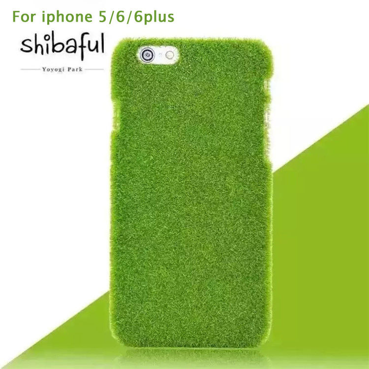 Novelty Shibaful Green Grass Lawn Plush Hard Plastic Mobile Phone Cases Coque Fundas For iPhone 5 6 4.7 6Plus 5.5(China (Mainland))