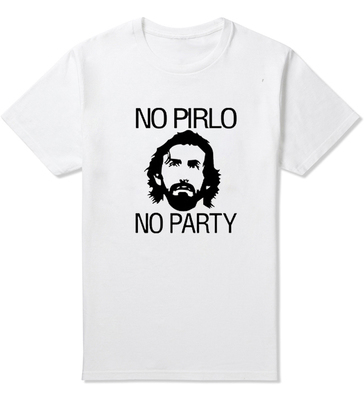 2015 Brand Summer Pirlo No Party Andrea Juventus Letters Funny T Shirts Mens Cotton O Neck Mans T-Shirt Short Sleeve Male tshirt(China (Mainland))