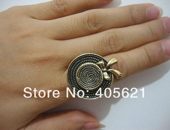 2013 new fashion cute small hat metal bow retro opening ring, alloy jewelry,10g  200pcs/lot+ Free Shipping<br>