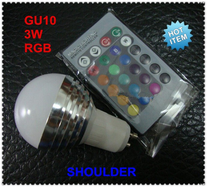 Christmas! 3W Magic Lighting RGB GU10 LED Light Bulb with 24keys 16 colors changing Remote Controller <br><br>Aliexpress