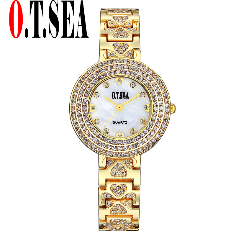 Luxury O.T.SEA Brand Stainless Steel Watches Women Ladies Shining Crystal Dress Quartz Wristwatches Relogios Feminino 2102
