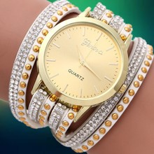 New 2015 Fashion Dress Wristwatches Geneva DIY Korea Cashmere Quartz Watch Women Rhinestone Gold Plated Bracelets