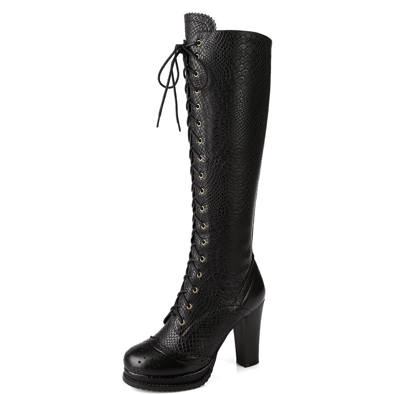 2016 Fashion Winter Lace-Up Woman Shoes Genuine Leather Knee high heels 9.5cm Motorcycle Boots For Women<br><br>Aliexpress
