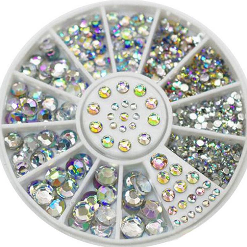 New Hot 1.5-5mm Sizes White round Acrylic 3D Nail Art Decoration Crystal Glitter Rhinestones 1NGM(China (Mainland))