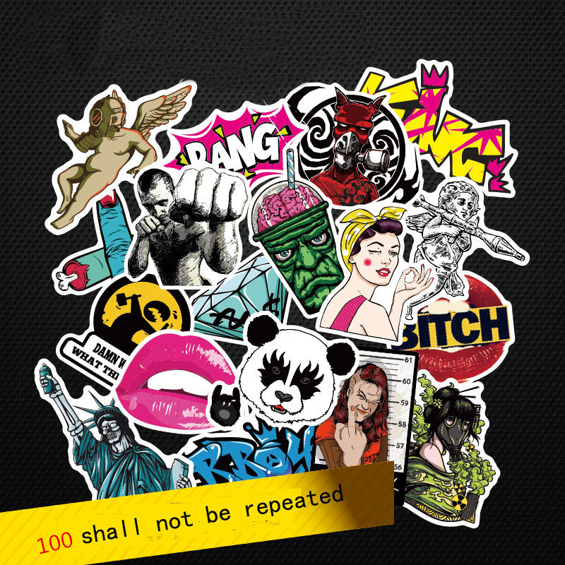 Fashion cool 50-100 pcs PVC stickers for Travel Suitcase Wall Pencil Box Bike Phone Sliding Plate of mixed graffiti Styling(China (Mainland))