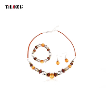 2016 Newest Bridal Jewelry Sets Wedding Bridesmaid African Beads Wood Resin Necklace Earrings Bracelets For Women Accessories(China (Mainland))