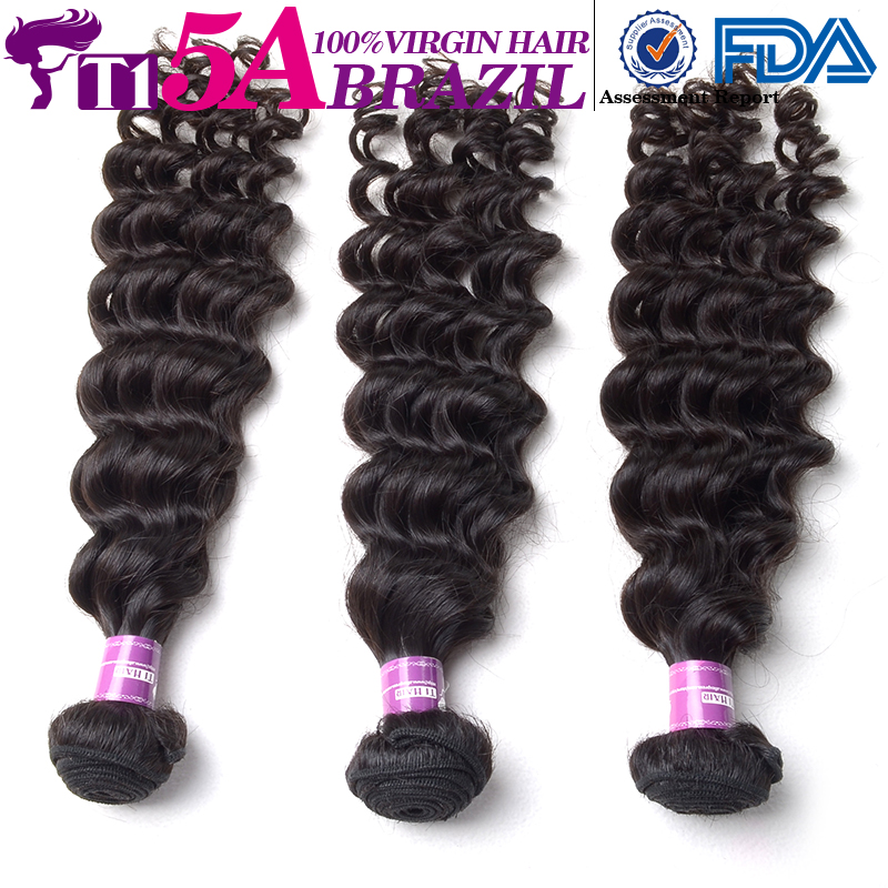 T1 5A Brazilian deep wave virgin hair human Hair Weave Hair Bundles Deep Wave Hair Extension in Stock DHL Free Shipping(China (Mainland))
