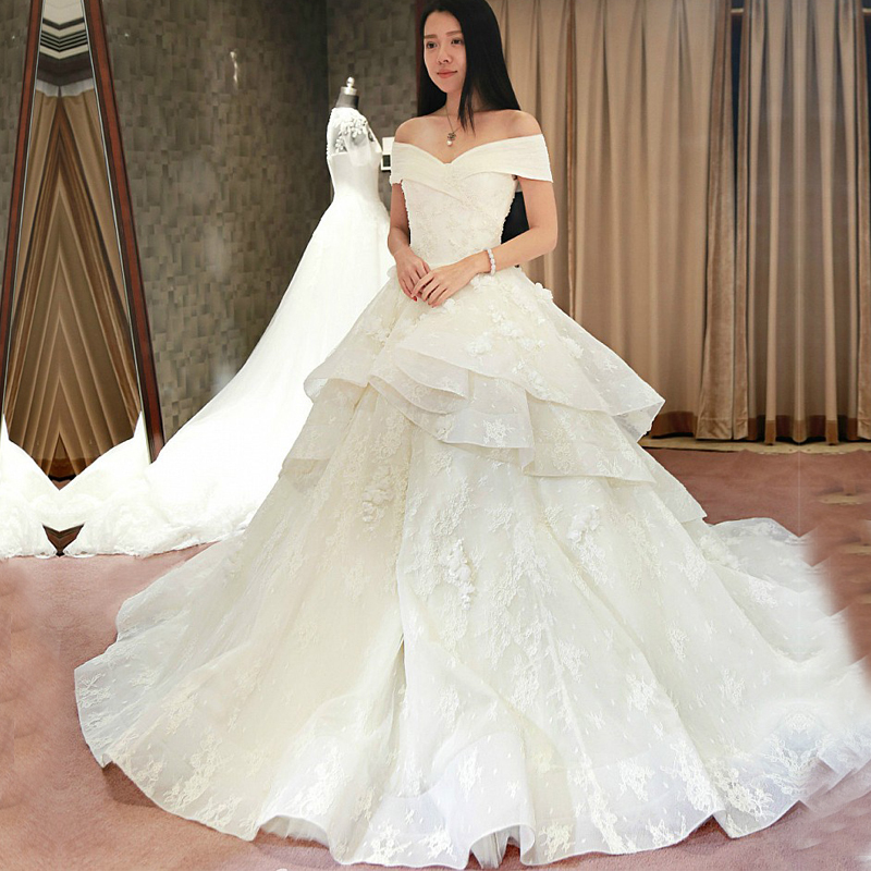 2016 wedding dresses ball gown off the shoulder white long for Off white dresses for weddings