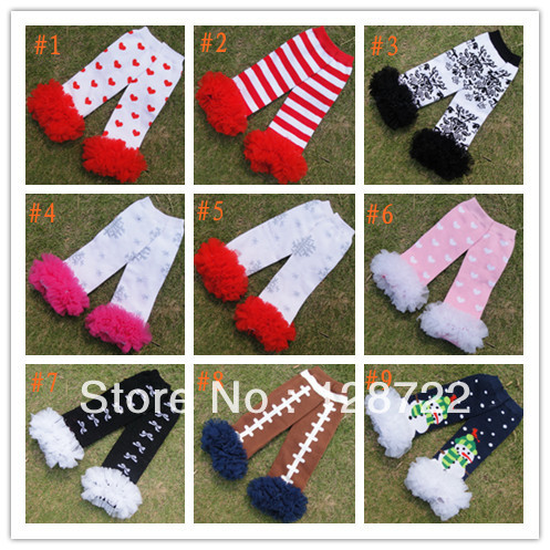 Footed baby leg warmers. These accessories are very similar to long socks in their design, but they have the same texture as thick leggings. Baby leg warmers typically have elastic around the opening, keeping them in place on the most active babies.