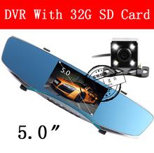 "5"" inch car camera rearview mirror auto dvrs cars dvr dual lens recorder video registrator dash cam full hd1080p night vision(China (Mainland))"