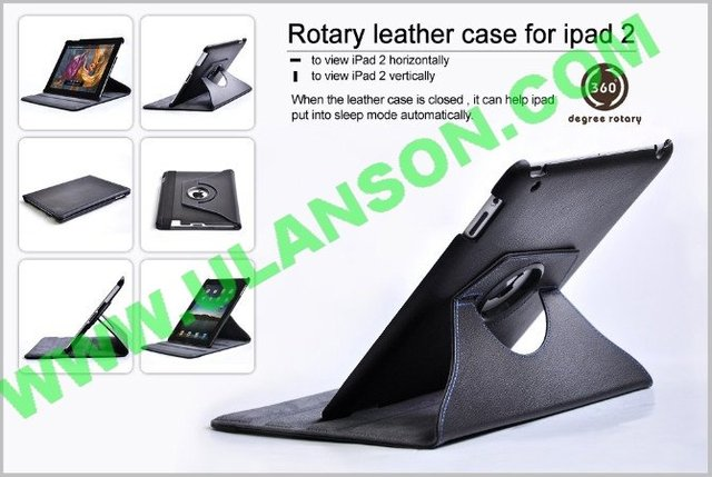 Free shipping, 360 degree pu bag for ipad 2 cover , for ipad 2 leather case, best quality, new design , 3g, uls-bag14