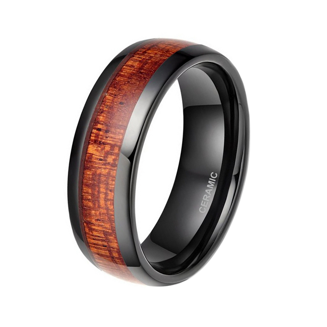 Shiny black dome band ceramic ring wedding ring for men with red wood inlay(China (Mainland))
