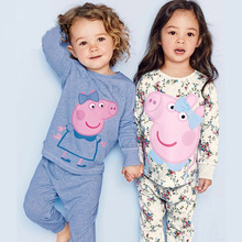 2016 Spring autumn brand pink pig kids girl clothes sets 2-7Y cartoon style sleepwear costume Loungewear Tracksuit beau loves