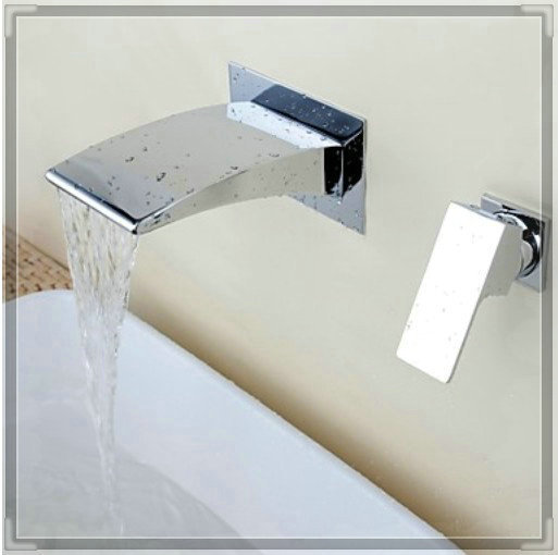 Wall Mount Two Holes Bathroom Sink Mixer Tap Waterfall Basin Faucet Chrome Finish touch faucet(China (Mainland))