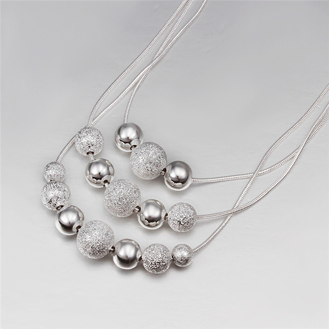 Fine jewelry charm silver plated bead necklace classic high-quality fashion accessories priced at direct wholesale gift(China (Mainland))