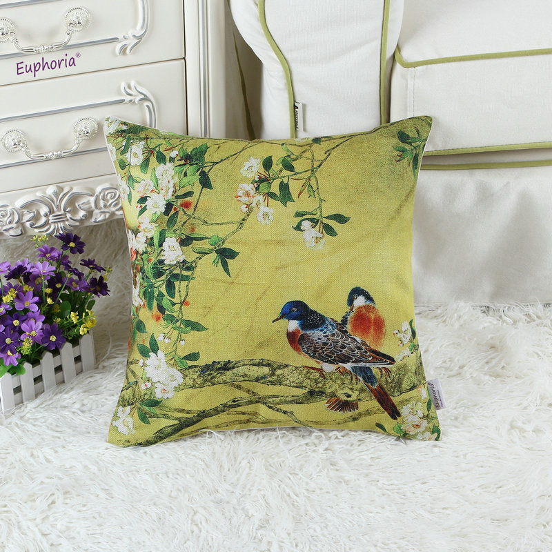 Cushion Cover Pillows Shell Home Car Sofa Decor Oriental Chinese Ink Flower Bird Tree 18 X