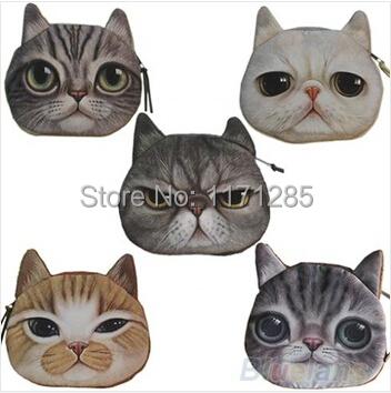free shipping Neeka shop New Cute Cat Face Zipper Case 3D Coin Purse Wallet Makeup Buggy Bag Pouch(China (Mainland))