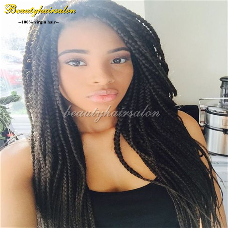 Twist Hand Synthetic Braiding Hair Wig Full Hand Wig Box Braided Lace Front Wigs African American Kinky Twist Braids Hair Wigs