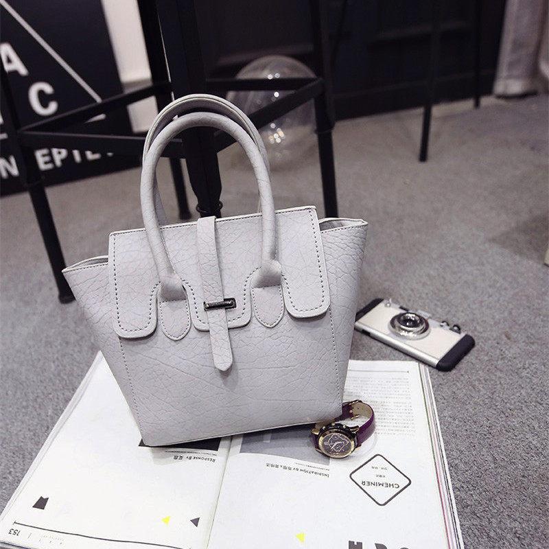 Ladylike High Quality Handbag 2016 New Fashion Women Litchi Stria Leather PU Bag Belt Buckle Designer Elegant Shoulder Bag
