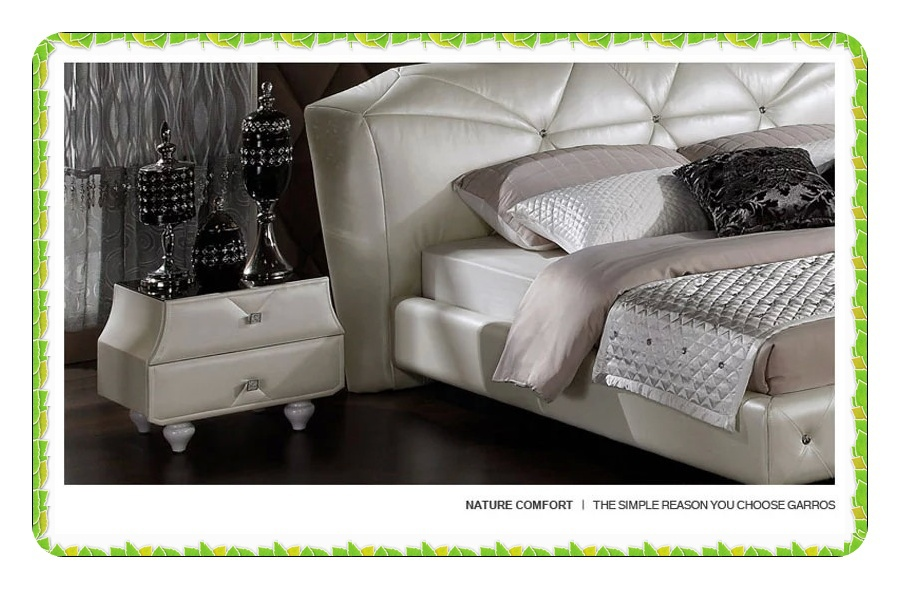 white leather bed side table with two drawers Europe style hot selling<br><br>Aliexpress