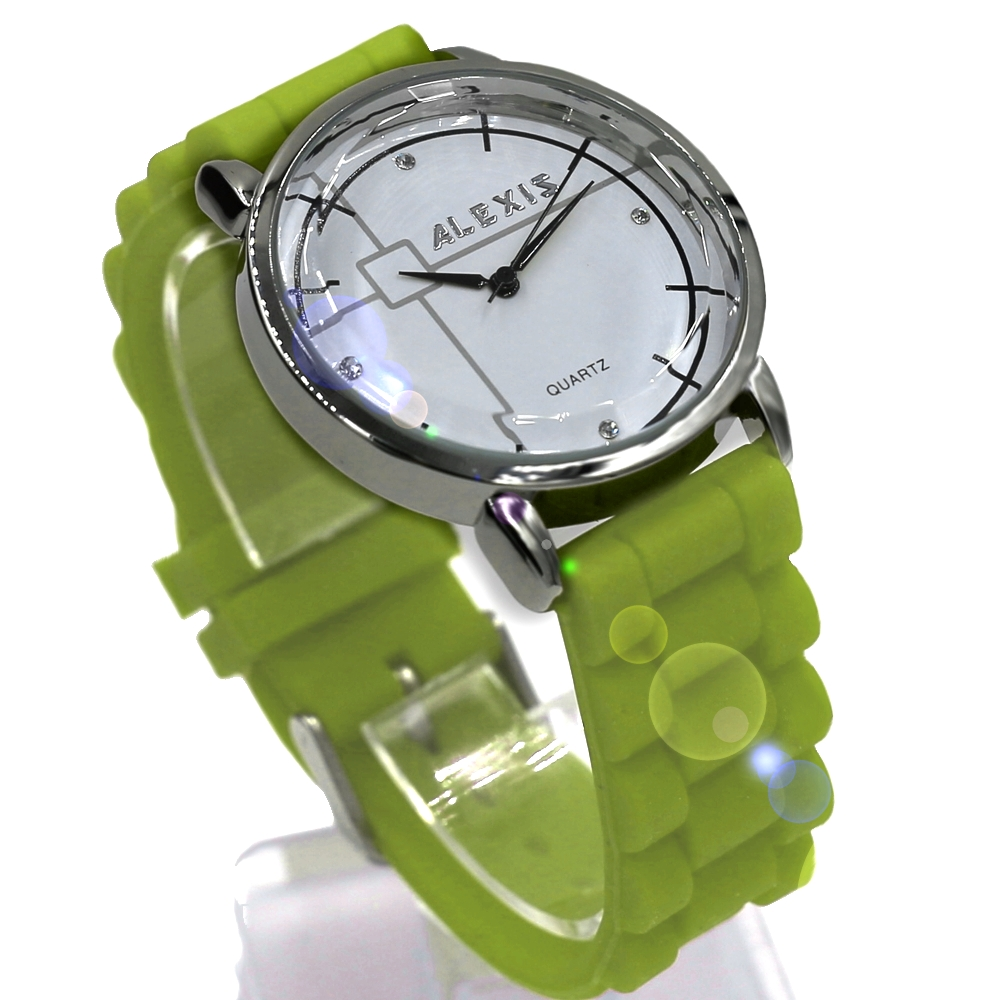 Round White Dial PNP Shiny Silver Watchcase Silicone Jelly Rubber Green Color Band Fashion Watch FW824P(China (Mainland))