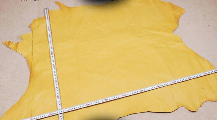 yellow Genuine Pig grain skin leather material sale by whole piece