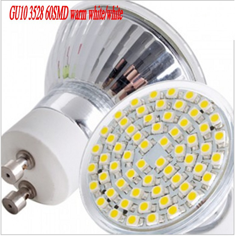 1 pcs GU10 3528 SMD 60 LED 5W Warm white white Spot Light Bulb Lamp Spotlight Model 220v 230v 240v free shipping(China (Mainland))