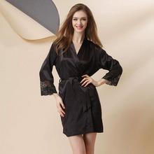 Women Nightwear Long Robe Pink Silk Robe Woman Nightwear Silk Gown Satin Kimono Robes For Women Sexy Nighty Sexy Nightwear(China (Mainland))