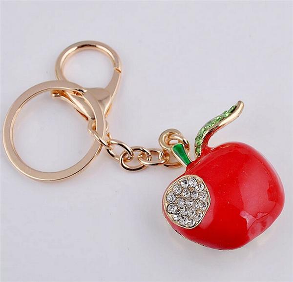Red Apple Keychain Jewelry Fashion Crystal Metal Key Ring Purse Charm Handbag Pendant Keyring Lady Gifts KC453 - DIY Factory store