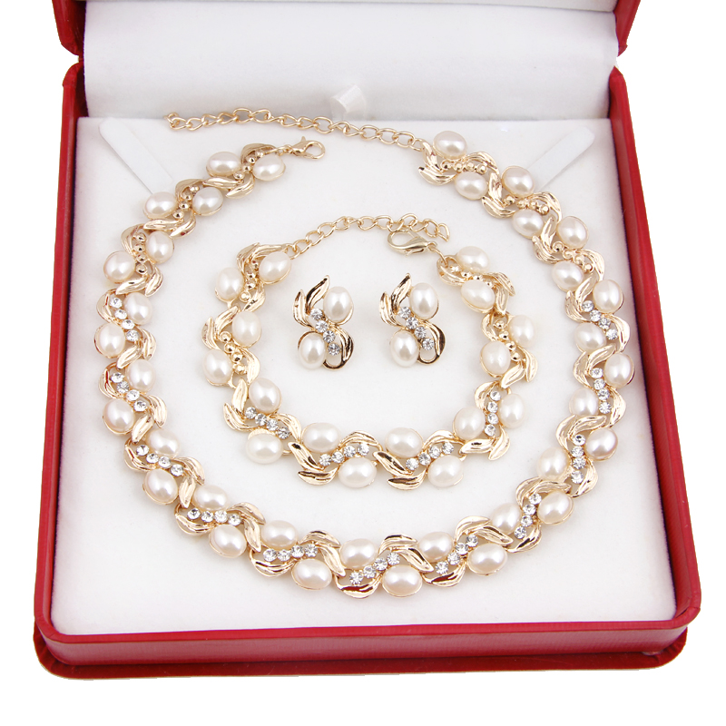 Clear Rhinestone Dubai African Gold Plated Necklace Sets Fashion pearl necklace set Wedding Bridal Accessories Jewelry - BTO Co., Ltd. store