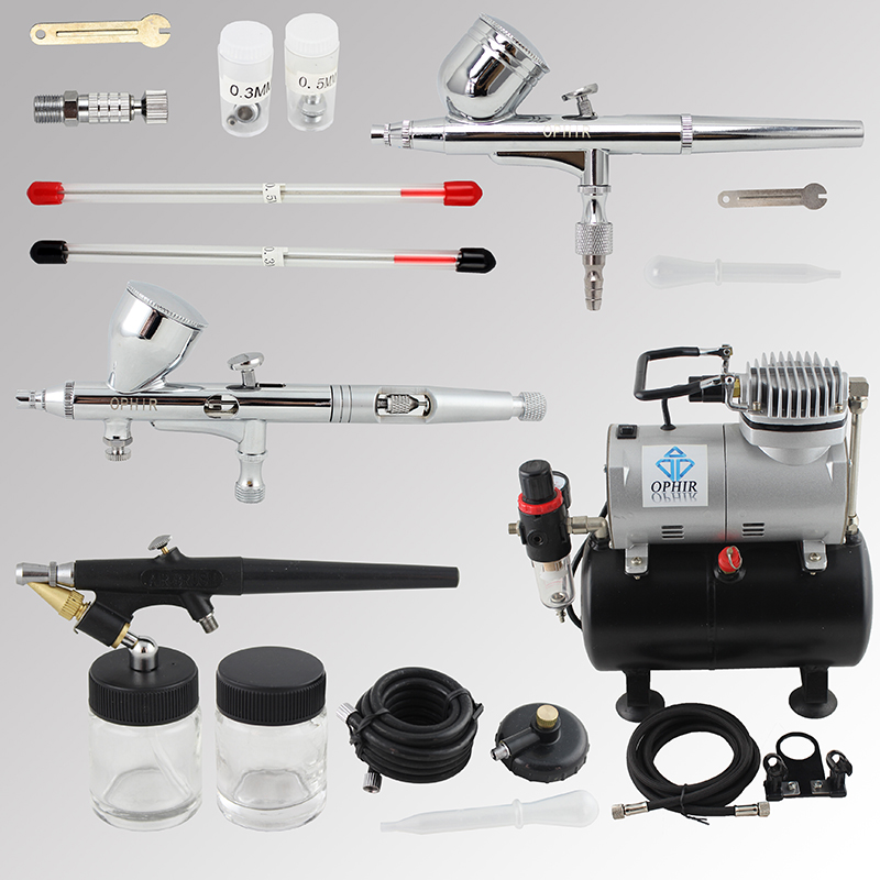 OPHIR Pro Airbrush Kit 3PCS Airbrush Spray Gun with Air Tank Compressor for Model Paint Nail Art Body Paint _AC090+004A+071+070(China (Mainland))