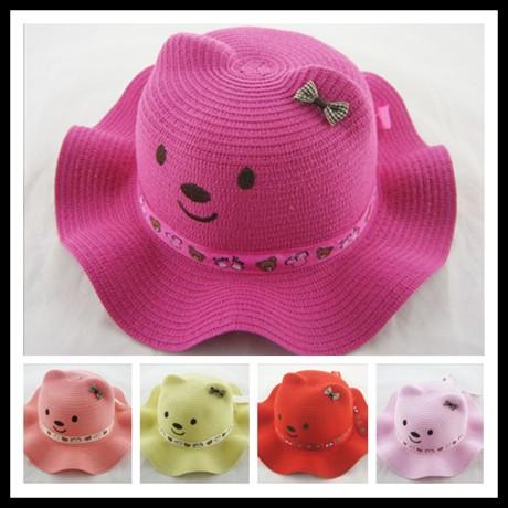 Female child hat child hat female child strawhat sun hat bonnet baby sunbonnet(China (Mainland))