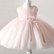 New 2016 Fshion Flower Girl Dress Kids Clothing Party Wedding Birthday Girls Dresses Baby Girl White Pink Rose Dress