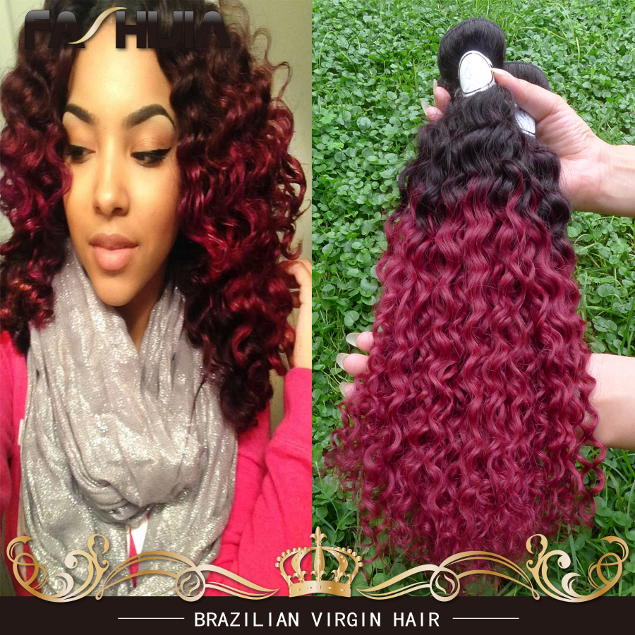 Yvonne Brazilian Kinky Curly Hair Burgundy Ombre hair 1B BG Red Two Tone 3 Bundles Cheap Brazilian Curly Virgin Hair Weave