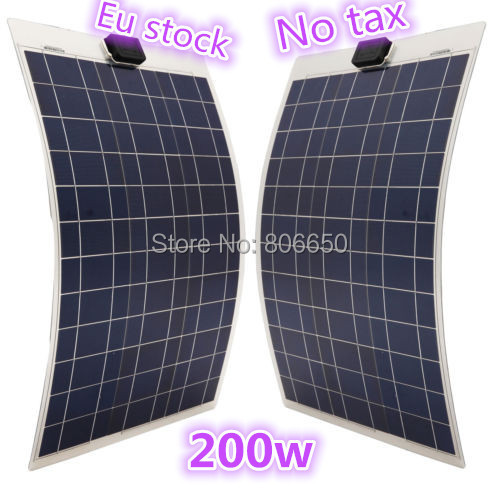 Eu stock , no tax, 2*100W 12V solar panel ,soalr flexible panel, poly crystaline cells module For 12v battery,free shipping *(China (Mainland))