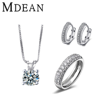 MDEAN White Gold Round CZ diamond Jewelry Sets AAA Zircon Anilos Engagement Vintage rings + earrings + necklace for women(China (Mainland))