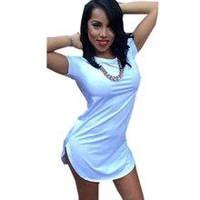 women white black tshirt dress summer style 2016 sexy bandage short beach dress cotton long tops tee t shirt dresses(China (Mainland))
