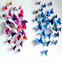 3D PVC Butterfly Wall Stickers Home Decor Butterfly Wall Decals For Kids Room TV Wall Stickers Kitchen Kids Wall Sticker Flower(China (Mainland))