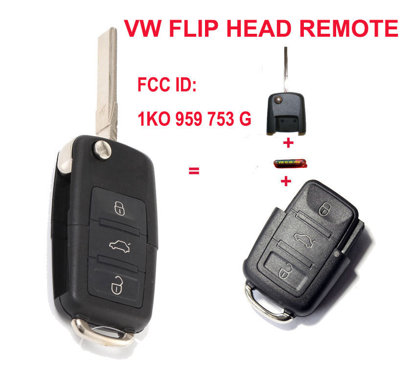 New Folding 1K0 959 753 G Remote Key 433MHZ ID48 Chip Transmitter for VW SEAT<br><br>Aliexpress